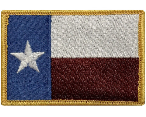 "V37 Tactical TEXAS State flag Lone Star patch Original Color Gold Edges 2""x3"" hook fastener *Made in USA* - Bullrun Flag Embroidery"