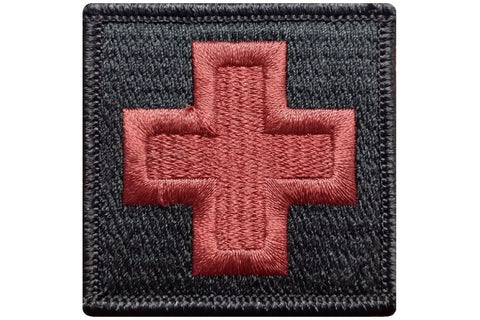 "V40 Tactical Medic Emergency Medical Cross patch Black color 2""x2"" size hook fastener *Made in USA - Bullrun Flag Embroidery"