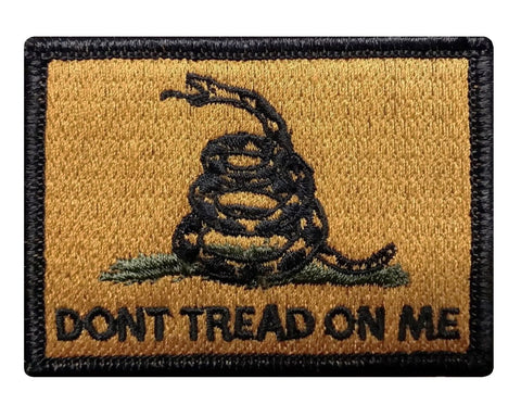 "V44 Tactical Gadsden flag patch dont tread on me yellow snake black edges 2""x3"" hook fastener *Made in USA* - Bullrun Flag Embroidery"