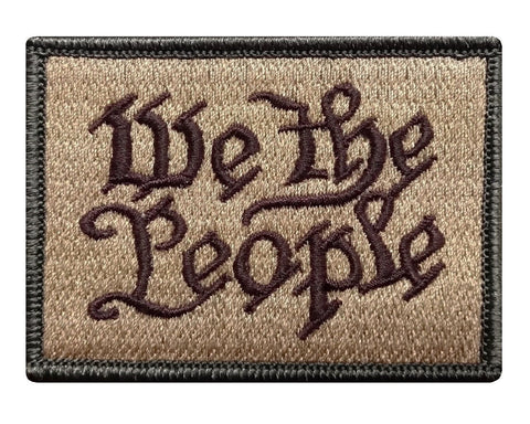 "V50 Tactical We The People Patch Multi- Tan Multitan 2""x3"" hook fastener Backing *Made in USA* - Bullrun Flag Embroidery"