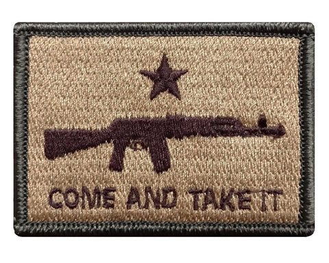 "V54 Tactical Come and Take It Patch Multi- Tan 2""X3"" hook fastener Backing Second Amendment *Made in USA* - Bullrun Flag Embroidery"