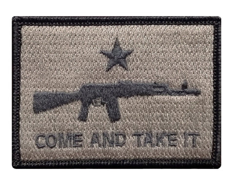 "V55 Tactical Come and Take It Patch Coyote Brown 2""x3"" hook fastener Second Amendment *Made in USA* - Bullrun Flag Embroidery"