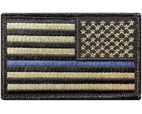 "V60 Tactical Thin Blue line patch Reverse USA flag Coyote Tan Law Enforcement Police 2""x3"" Hook fastener *Made in USA* - Bullrun Flag Embroidery"