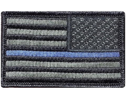 "V61 Tactical Thin Blue line patch Reverse USA flag for Law Enforcement Police Olive Drab 2""x3"" hook fastener *Made in USA* - Bullrun Flag Embroidery"