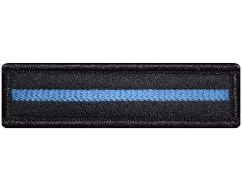 "V67 Tactical Reflective Thin Blue line patch Black Glow in the dark 1""x3.75"" hook fastener *Made in USA* - Bullrun Flag Embroidery"