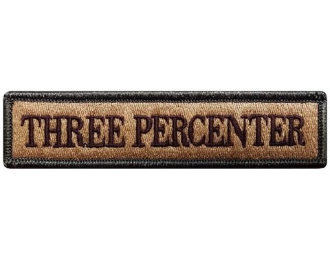 "V68 Tactical Three Percenter patch Multi- Tan Multitan Camo Multicam 1""x3.75"" Hook fastener *Made in USA* - Bullrun Flag Embroidery"
