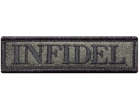 "V93 Tactical Infidel patch Olive Drab 1""x3.75"" hook fastener Backing *Made in USA* - Bullrun Flag Embroidery"