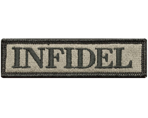"V94 Tactical Infidel patch Coyote Brown ACU 1""x3.75"" Hook Fastener *Made in USA* - Bullrun Flag Embroidery"