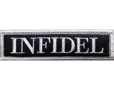 "V96 Tactical Infidel patch Silver 1""x3.75"" Velcro hook back *Made in USA* - Bullrun Flag Embroidery"