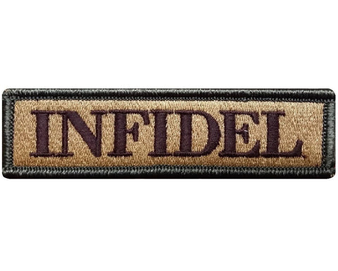 "V98 Tactical Infidel patch Multi- Tan 1""x3.75"" Velcro hook *Made in USA* - Bullrun Flag Embroidery"