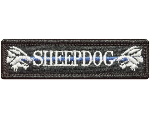 "V111 Tactical SHEEPDOG patch sheep dog wolf with Blue line Black & White 1""x3.75"" Hook Fastener Backing *Made in USA* - Bullrun Flag Embroidery"