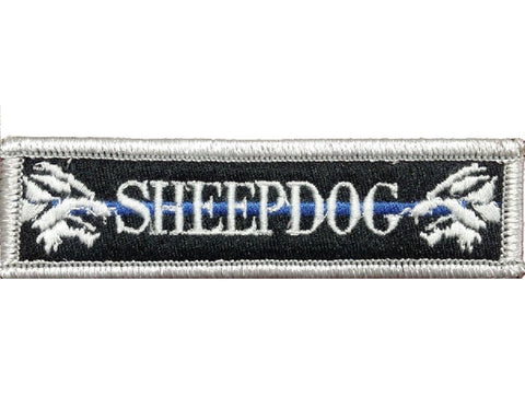 "V112 Tactical Sheepdog patch sheep dog wolf Silver With Blue line 1""x3.75"" Hook Fastener Backing *Made in USA - Bullrun Flag Embroidery"