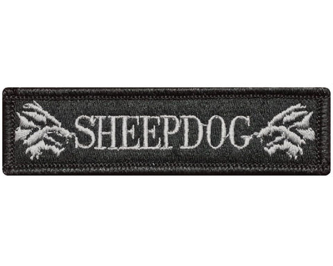"V113 Tactical Sheepdog patch sheep dog wolf Subdued Grey 1""x3.75"" Hook Fastener Backing *Made in USA* - Bullrun Flag Embroidery"