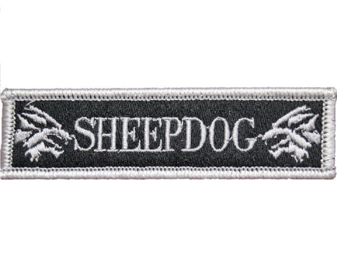 "V114 Tactical Sheepdog patch Silver 1""x3.75"" Hook Fastener Backing sheep dog wolf *Made in USA* - Bullrun Flag Embroidery"
