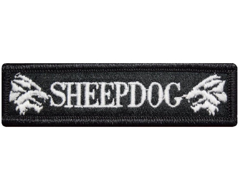 "V115 Tactical Sheepdog patch Black & White 1""x3.75"" Hook Fastener Backing Sheep dog Wolf *Made in USA* - Bullrun Flag Embroidery"