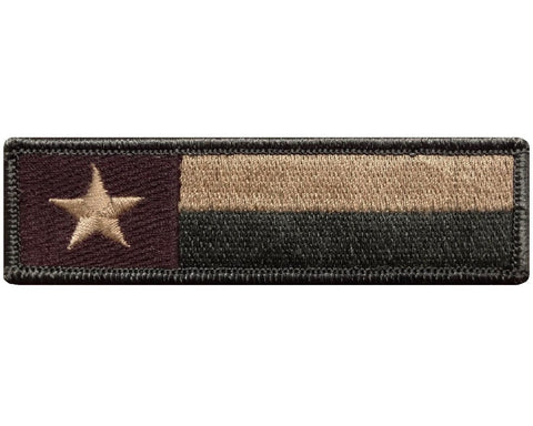 "V121 Tactical Texas State Flag Morale patch Multi- Tan 1""x3.75"" Hook Fastener Backing *Made in USA* - Bullrun Flag Embroidery"