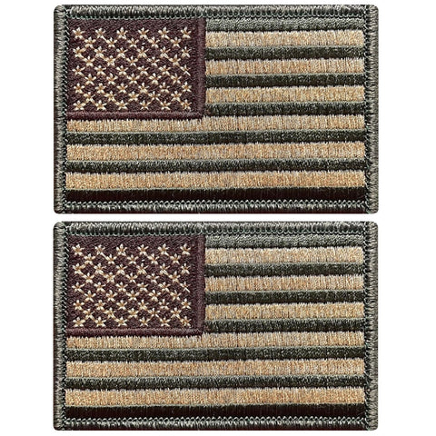 "V122 Bundle of 2 USA flag patch 2""x3"" Hook Fastener Backing Multi Tan multitan multicam *Made in USA* - Bullrun Flag Embroidery"