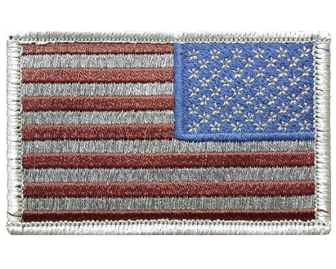 "V12 Reverse Tactical USA Flag patch 2""x3"" Hook Fastener Backing Subdued Silver *Made In USA* - Bullrun Flag Embroidery"