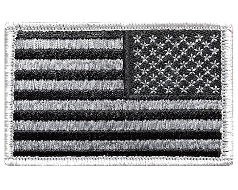 Reverse Tactical USA flag patch Hook Fastener Backing Subdued Black & White - Bullrun Flag Embroidery