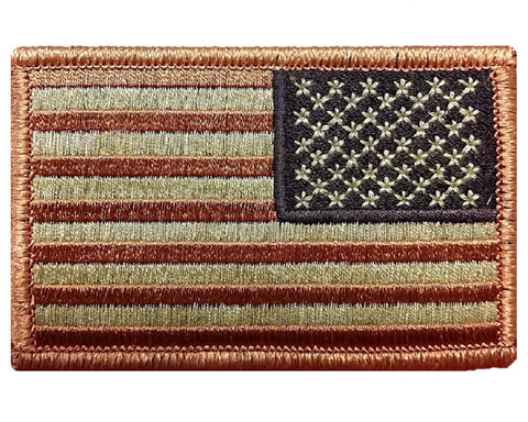 "V15 Reverse Tactical USA flag patch 2""x3"" Hook Fastener Backing Desert Tan *Made In USA* - Bullrun Flag Embroidery"