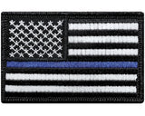 "V28 Tactical Thin Blue Line patch USA flag Black & White 2""x3"" Hook Fastener Police Law Enforcement *Made in USA* - Bullrun Flag Embroidery"