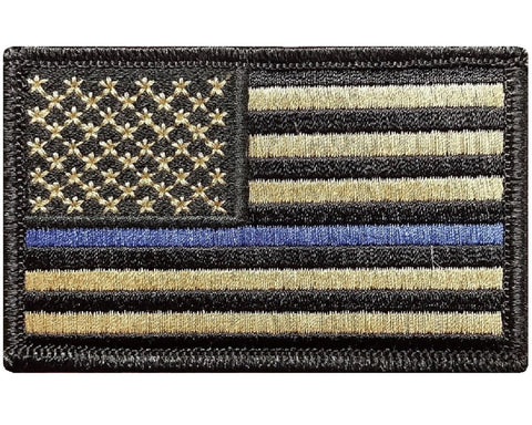 "V31 Tactical Thin Blue line patch Law Enforcement Police Multi- Tan Multitan Coyote Brown USA Flag 2""x3"" Hook Fastener *Made in USA* - Bullrun Flag Embroidery"
