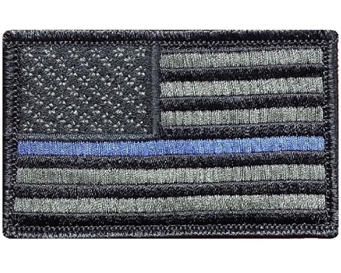 "V32 Tactical Thin Blue line patch Law Enforcement Police Olive Drab USA flag 2""x3"" Hook Fastener *Made in USA* - Bullrun Flag Embroidery"