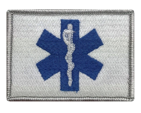 "V34 Tactical EMT / EMS star of life Emergency Medical patch Original White Blue color 2""x3"" hook Fastener *Made in USA* - Bullrun Flag Embroidery"