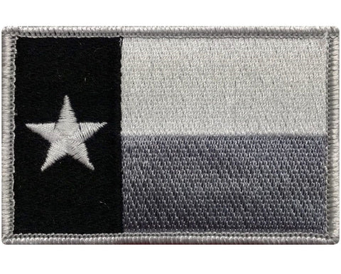 "V36 Tactical TEXAS State flag patch Subdued Black & White 2""x3"" Hook Fastener *Made in USA* - Bullrun Flag Embroidery"