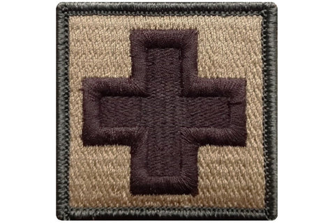 "V38 Tactical Medic Emergency Medical Cross patch Multi-Tan Multicam Multitan Coyote brown 2""x2"" hook fastener *Made in USA* - Bullrun Flag Embroidery"