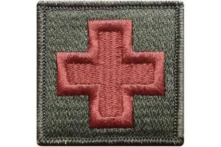 "V39 Tactical Medic Emergency Medical Cross patch Olive Drab Multicam Color 2""x2"" size hook fastener *Made in USA* - Bullrun Flag Embroidery"