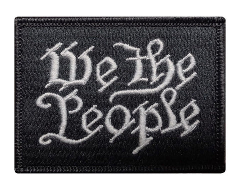 "V51 Tactical We The People Patch Subdued Black & white Gray Silver 2""x3"" Hook & loop Back *Made in USA* - Bullrun Flag Embroidery"