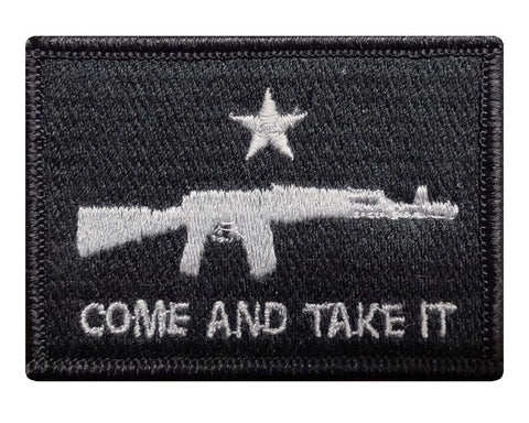 "V56 Tactical Come and Take It Patch Subdued Grey 2""x3"" Hook fastener Second Amendment*Made in USA* - Bullrun Flag Embroidery"