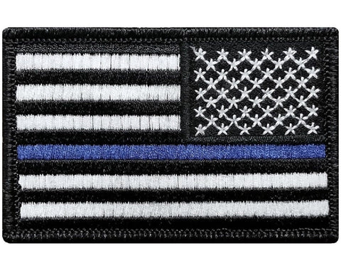 "V57 Tactical Thin Blue line Reverse USA flag for Law Enforcement  Police Black 2""x3"" hook fastener *Made in USA* - Bullrun Flag Embroidery"