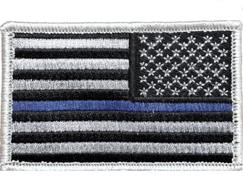 "V59 Tactical Thin blue line patch Reverse USA Flag Silver Law Enforcement police 2""x3"" Hook fastener *Made in USA* - Bullrun Flag Embroidery"