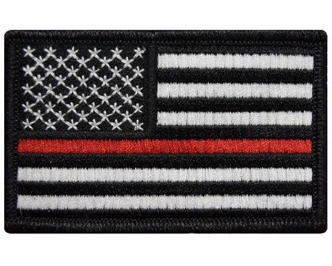 "V62 Tactical Thin Red line Patch Firefighter Black USA flag 2""x3"" hook & loop Back *Made in USA* - Bullrun Flag Embroidery"