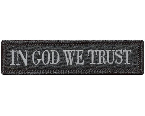 "V77 Tactical in god we trust patch Subdued Grey 1""x3.75"" hook fastener *Made in USA* - Bullrun Flag Embroidery"