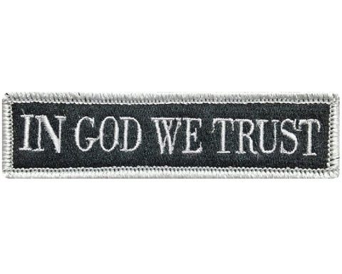 "V78 Tactical in god we trust patch Silver 1""x3.75"" hook fastener *Made in USA* - Bullrun Flag Embroidery"