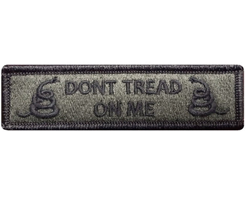 "V86 Tactical Dont Tread On Me patch Olive Drab 1""x3.75"" hook fastener *Made in USA* - Bullrun Flag Embroidery"