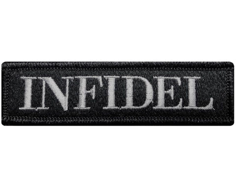 "V95 Tactical Infidel patch Subdued Grey 1""x3.75"" Velcro hook *Made in USA* - Bullrun Flag Embroidery"