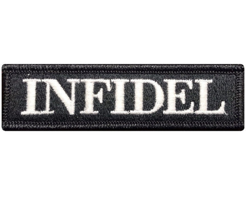 "V97 Tactical Infidel patch Black & White 1""x3.75"" Velcro hook *Made in USA* - Bullrun Flag Embroidery"