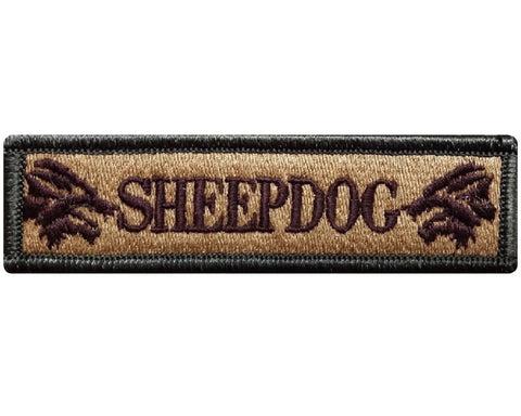 "V116 Tactical Sheepdog patch Multi- Tan 1""x3.75"" Hook Fastener Backing sheep dog wolf *Made in USA* - Bullrun Flag Embroidery"
