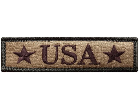 "V117 U.S.A USA Tactical Morale patch Multi- Tan multitan multicam 1""x3.75"" Hook Fastener Backing *Made in USA* - Bullrun Flag Embroidery"
