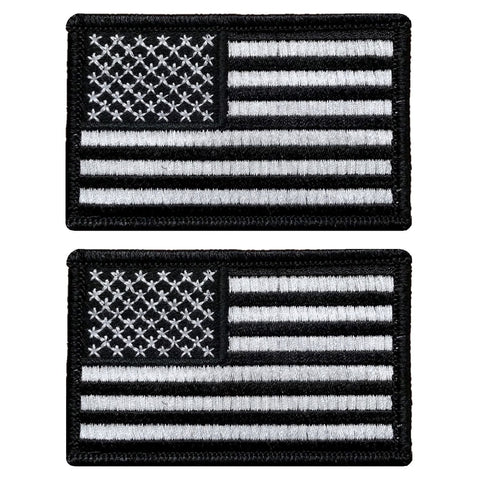 "V123 Bundle of 2 Tactical USA flag patch 2""x3"" Hook Fastener Backing Black and White *Made in USA* - Bullrun Flag Embroidery"