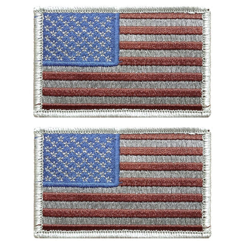 "V124 Bundle of 2 Tactical USA flag patch 2""x3"" Hook Fastener Backing Subdued Silver * Made in USA* - Bullrun Flag Embroidery"