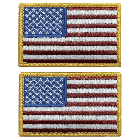 "V125 Bundle of 2 Tactical USA flag patch 2""x3"" Hook Fastener Backing Red White Blue Gold Boarder *Made in USA* - Bullrun Flag Embroidery"