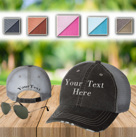 Your Text Custom Embroidered on Unstructured Mesh back Trucker Hat Personalized Word Vintage Distressed Cap No minimum