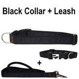 Custom dog Collars Personalized Embroidered dog collars with Name 1 inch  Black with leash