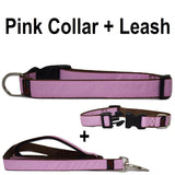 Custom dog Collars Personalized Embroidered dog collars with Name 1 inch  Pink with leash