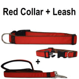 Custom dog Collars Personalized Embroidered dog collars with Name 1 inch  Red with leash